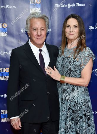 Dustin Hoffman, Lisa Hoffman. Actor Dustin Hoffman and wife Lisa Hoffman attend the 27th annual Independent Film Project's Gotham Awards at Cipriani Wall Street, in New York