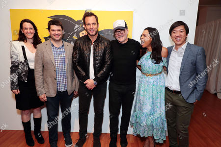 Stock Picture of Allison Abbate - Warner Animation Group, Christopher Miller - Producer, Will Arnett, Chris McKay - Director, Rosario Dawson and Dan Lin - Producer