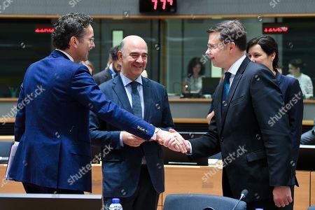 Pierre Moscovici, Jeroen Dijsselbloem, Valdis Dombrovskis