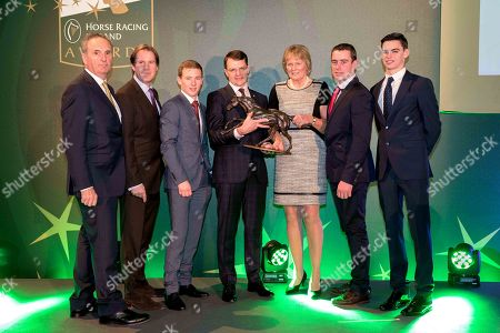Racecourse of Year Award Winner Down Royal collected by Mike Todd (Racecourse Manager) and Jim Nicholson (Chairman Down Royal) Flat Award winner Colin Keane, Contribution to the Industry Award winner, Aidan O'Brien, National Hunt Award winner and Horse of the Year for Sizing John, trainer Jessica Harrington, Point to Point Award winner Barry O'Neill and Outstanding Achievement Award to Joseph O'Brien, collected by his brother Donnacha O'Brien
