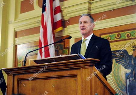 Stock Picture of South Dakota Gov. Dennis Daugaard gives his annual state budget address to the South Dakota legislature at the state Capitol in Pierre, S.D