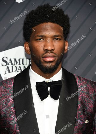 Professional basketball player Joel Embiid attends the Sports Illustrated 2017 Sportsperson of the Year Awards at the Barclays Center, in New York