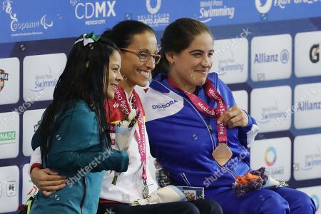 (L-R) Joana Silva of Brazil, winner of the silver medal; Teresa Perales of Spain, winner of the gold medal; Inbal Pezaro of Israel, winner of the bronze medal, pose during the award ceremony of the 50-meter women's free S5 category final event, during the Paralympic World Swimming Championships in Mexico City, Mexico, 05 December 2017.