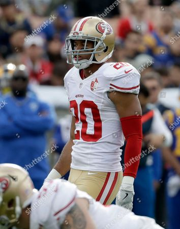 Stock Image of San Francisco 49ers cornerback Marcus Cromartie (20) during the first half of an NFL football game against the Los Angeles Rams, in Los Angeles