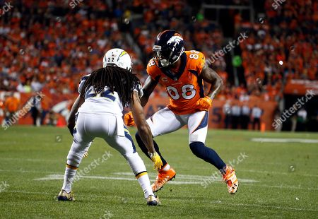 Demaryius Thomas, Jason Verrett. Denver Broncos wide receiver Demaryius Thomas (88) lines up against Los Angeles Chargers cornerback Jason Verrett during the first half of an NFL football game, in Denver