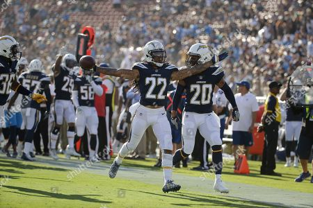 Los Angeles Chargers cornerback Jason Verrett (22) celebrates an interception during the first half of a preseason NFL football game against the Los Angeles Rams, in Los Angeles