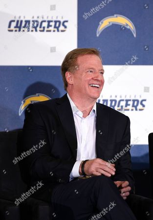 NFL commissioner Roger Goodell reacts to the speech by Inglewood Mayor James T. Butts Jr. during an NFL football news conference in Inglewood, Calif