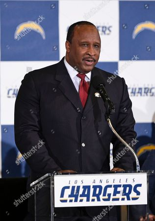 Stock Image of Mayor of Inglewood James T. Butts Jr. talks to the crowd to introduce the Los Angeles Chargers to the Los Angeles area during an NFL football news conference in Inglewood, Calif