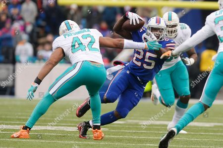 Buffalo Bills running back LeSean McCoy (25) rushes past Miami Dolphins' Spencer Paysinger (42) during the first half of an NFL football game, in Orchard Park, N.Y