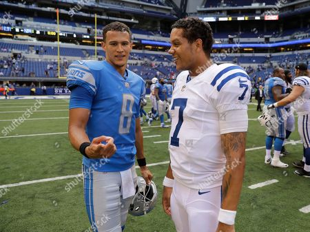 Stock Picture of Detroit Lions' Brad Kaaya (8) and Indianapolis Colts' Stephen Morris (7) talk following an NFL preseason football game, in Indianapolis. Detroit won 24-10