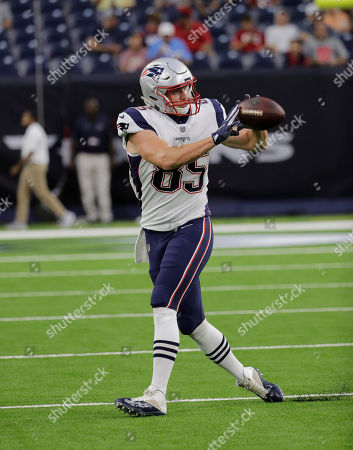 Stock Image of New England Patriots tight end Sam Cotton (85) before an NFL football preseason game against the Houston Texans, in Houston