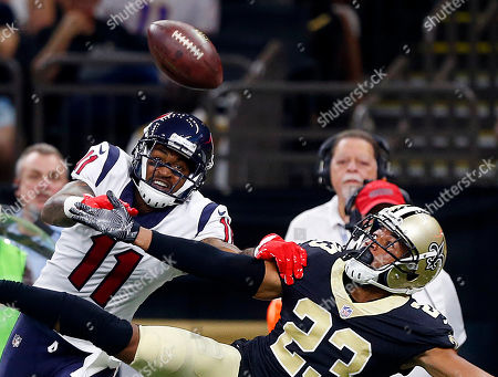 Marshon Lattimore, Jaelen Strong. New Orleans Saints cornerback Marshon Lattimore (23) breaks up a pass intended for Houston Texans wide receiver Jaelen Strong (11) in the first half of a preseason NFL football game in New Orleans
