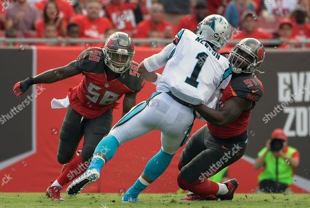 Tampa Bay Buccaneers defensive end Robert Ayers (91) sacks Carolina Panthers quarterback Cam Newton (1) during the second quarter of an NFL football game, in Tampa, Fla
