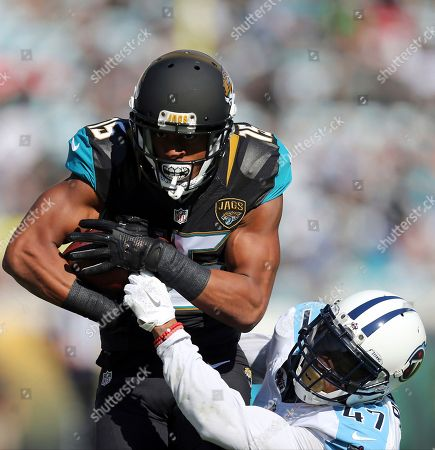 Jacksonville Jaguars wide receiver Allen Robinson (15) catches a pass over Tennessee Titans defensive back Valentino Blake (47) during the first half of an NFL football game, in Jacksonville, Fla