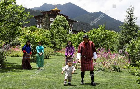 In this handout photograph released by Royal Office for Media Bhutan, Japan's Princess Mako, second left, the granddaughter of Emperor Akihito, watches Jigme Namgyel Wangchuck son of Bhutan's King Jigme Khesar Namgyal Wangchuck, right, and Queen Jetsun Pema, second right, in Thimphu, Bhutan on