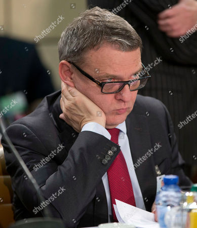 Stock Image of Czech Republic's Foreign Minister Lubomir Zaoralek waits for the start of a meeting of the NATO-Georgia Council at NATO headquarters in Brussels on