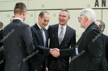 (L-R) Hungarian Minister of Foreign Affairs and Trade Peter Szijjarto, Foreign Minister of Georgia Mikheil Janelidze, North Atlantic Treaty Organization (NATO) Secretary General Jens Stoltenberg and Polish Minister of Foreign Affairs Witold Waszczykowski attend NATO-Georgia commission foreign ministers at alliance headquarters in Brussels, Belgium, 06 December 2017. NATO Foreign Ministers are meeting on 05 - 06 December 2017 to for two days of talks on NATO's adaptation ahead of the Brussels Summit next July 2018. Ministers will also discuss global security challenges, including North Korea, and NATO's role in projecting stability beyond its borders.