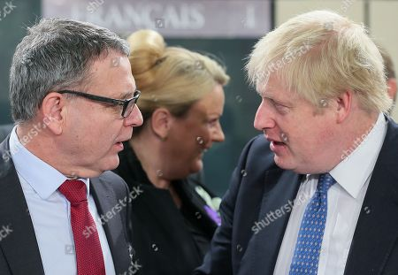 Czech Foreign Minister Lubomir Zaoralek (L) and British Secretary of State for Foreign and Commonwealth Affairs, Boris Johnson attend NATO-Georgia commission foreign ministers at alliance headquarters in Brussels, Belgium, 06 December 2017. NATO Foreign Ministers are meeting on 05 - 06 December 2017 to for two days of talks on NATO's adaptation ahead of the Brussels Summit next July 2018. Ministers will also discuss global security challenges, including North Korea, and NATO's role in projecting stability beyond its borders.