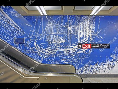 Stock Image of This 2016 photo provided by the Office of New York Gov. Andrew M. Cuomo shows a mosaic by Sarah Sze near the 94th St. exit in the 96th St. station of the Second Avenue subway line, in New York. The line, which opens, will have four stations, each with walls decorated with ceramic-tile or mosaic pieces by one of the four artists: Chuck Close, Sarah Sze, Jean Shin and Vik Muniz