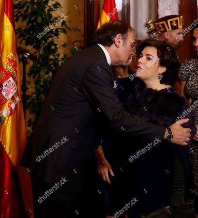 Speaker of the Parliament's Upper Chamber, Pio Garcia Escudero (L), welcomes Deputy Prime Minister, Soraya Saez de Santamaria, during an official reception held on the occassion of the Constitution Day, in Madrid, Spain, on 06 December 2017. The Constitution Day marks the anniversary of the referendum held back in 1978 and the following approval of the Spanish Constitution.