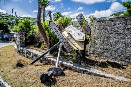 Damage of Hurricane Irma on the Caribbean island