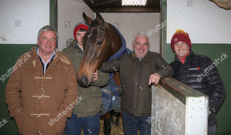 Stock Picture of SPLASH OF GINGE with trainer Nigel Twiston-Davies and sons Willie & Sam and owner John Neild