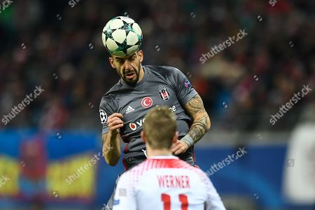 Besiktas Istanbul's Alvaro Negredo (L) and Leipzig's Timo Werner (R) in action during the UEFA Champions League group G soccer match between RB Leipzig and Besiktas Istanbul in Leipzig, Germany, 06 December 2017.