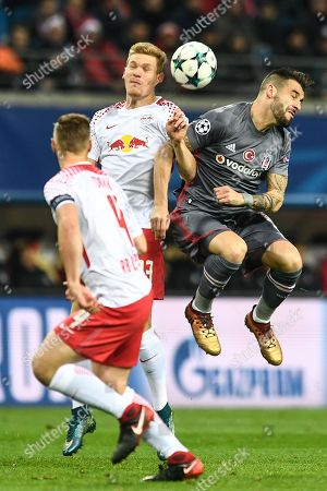 Leipzig's Marcel Halstenberg (2-L) and Besiktas Istanbul's Alvaro Negredo (R) in action during the UEFA Champions League group G soccer match between RB Leipzig and Besiktas Istanbul in Leipzig, Germany, 06 December 2017.