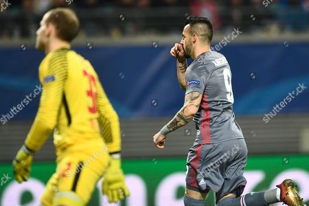 Besiktas Istanbul's Alvaro Negredo (R) celebrates scoring the 1-0 goal during the UEFA Champions League group G soccer match between RB Leipzig and Besiktas Istanbul in Leipzig, Germany, 06 December 2017.