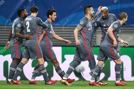 Besiktas Istanbul's Alvaro Negredo (3-R) celebrates scoring the 1-0 goal during the UEFA Champions League group G soccer match between RB Leipzig and Besiktas Istanbul in Leipzig, Germany, 06 December 2017.