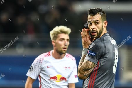 Stock Image of Besiktas Istanbul's Alvaro Negredo (R) reacts during the UEFA Champions League group G soccer match between RB Leipzig and Besiktas Istanbul in Leipzig, Germany, 06 December 2017.
