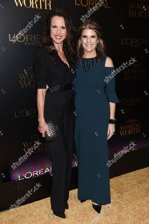 Andie MacDowell, Karen Fondu. Actress Andie MacDowell, left, and L'Oreal Women of Worth chairman and president Karen Fondu attend the L'Oreal Women of Worth Awards at the Pierre Hotel, in New York