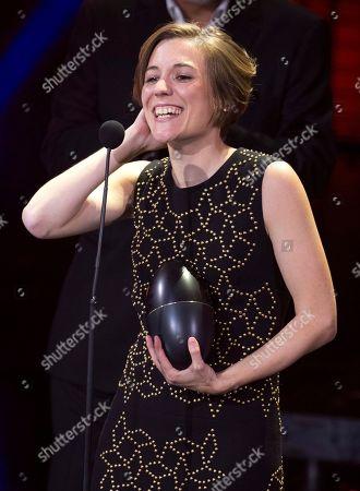 Director Carla Simon receives the Best Script award for the film Estiu 1993 during the Fenix Iberoamerican Film Awards at Esperanza Iris Theater in Mexico City