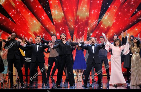 """Michael Ball and Alfie Boe performing """"Bring Me Sunshine"""" with Miranda Hart Joan Collins, Seal, Danny O'Donoghue, Brandon Flowers and the cast of the Royal Variety Performance"""