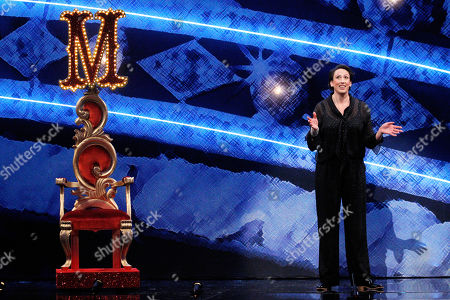 Host Miranda Hart with her throne on the stage of this years Royal Variety Performance