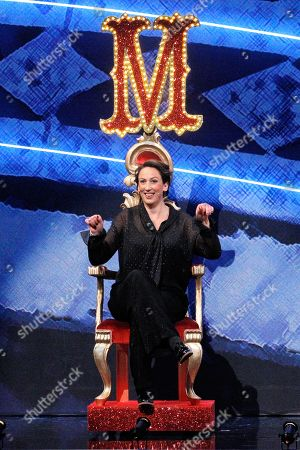 Host Miranda Hart on her throne on the stage of this years Royal Variety Performance