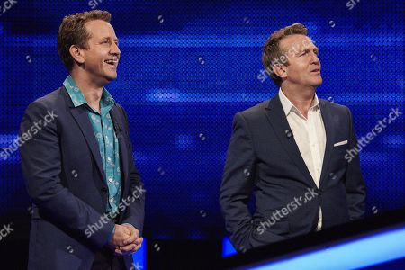 Mark Pougatch and host Bradley Walsh facing The Chaser