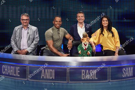 (l-r) Charlie Higson, Andi Peters with host Bradley Walsh, Basil Brush and Sam Quek