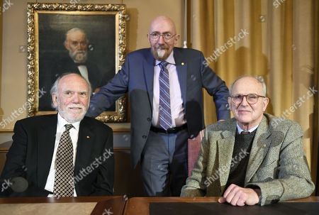 Stock Picture of (L-R) Barry Barish, Nobel laureate in physics, Kip Thorne, Nobel laureate in physics, Rainer Weiss, Nobel laureate in physics pose during the press conference at the Royal Academy of Science in Stockholm, Sweden, 07 December 2017. The Nobel Prize Award Ceremony and Banquet will take place on 10 December.