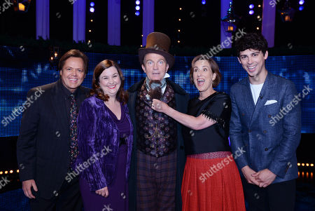 (l-r) Jimmy Osmond, Patti Clare, with host Bradley Walsh as Charles Dickens, Kirsty Wark and Matt Richardson