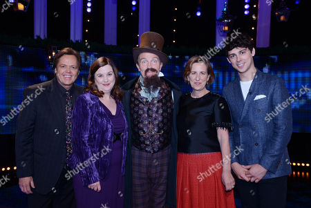 Stock Picture of (l-r) Jimmy Osmond, Patti Clare, with host Bradley Walsh as Charles Dickens, Kirsty Wark and Matt Richardson