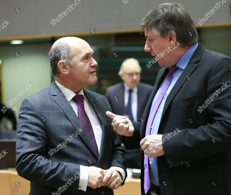 Austrian Interior Minister Wolfgang Sobotka and Belgian Interior Minister Jan Jambon(R) during a Justice and Home Affairs Council in Brussels, Belgium, 07 December 2017.