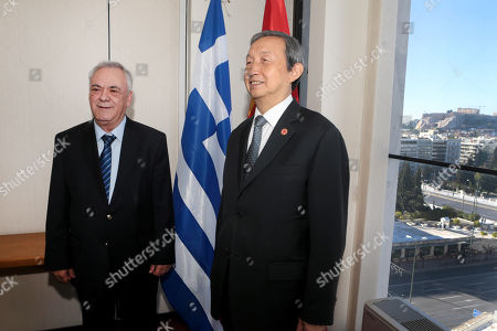 Greek vice-president Yiannis Dragasakis (L) welcomes China?s Vice Premier Ma Kai(R) during their meeting, in Athens, Greece, 07 December 2017. The focus of talks during Ma Kai's visit to Greece will be on new technology, tourism and agri-food products.
