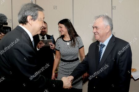 Greek vice-president Yiannis Dragasakis (R) welcomes China?s Vice Premier Ma Kai (L) during their meeting, in Athens, Greece, 07 December 2017. The focus of talks during Ma Kai's visit to Greece will be on new technology, tourism and agri-food products.