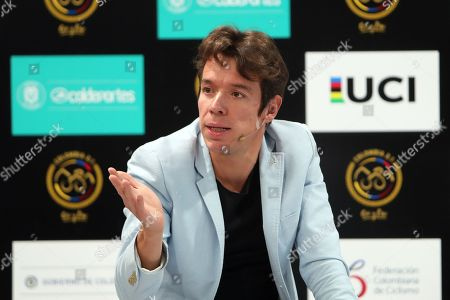 Colombian cylist Rigoberto Uran speaks during a press conference on the upcoming race Colombia Gold and Peace in Bogota, Cundinamarca, Colombia, 07 December 2017. Former cyclists Alberto Contador and Ivan Basso will be guests of honor at the first edition of the race between the 06 and 11 February 2018.