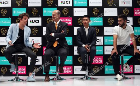 Colombian cylists Nairo Quintana (2R), Fernando Gaviria (R) and Rigoberto Uran (L) speak next to President of the Colombian Cycling Federation Jorge Ovidio Gonzalez (2L) during a press conference on the upcoming race Colombia Gold and Peace in Bogota, Cundinamarca, Colombia, 07 December 2017. Former cyclists Alberto Contador and Ivan Basso will be guests of honor at the first edition of the race between the 06 and 11 February 2018.