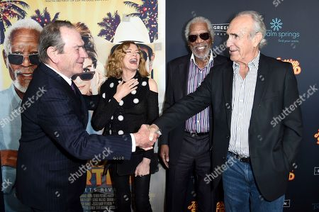 "Tommy Lee Jones, Rene Russo, Morgan Freeman, Ron Shelton. Tommy Lee Jones, left, Rene Russo, Morgan Freeman and Ron Shelton, right, attend the Los Angeles premiere of ""Just Getting Started"" at ArcLight Hollywood, in Los Angeles"