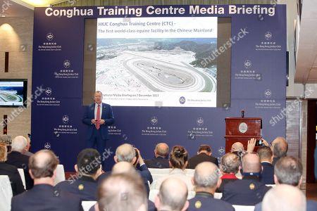 , Hong Kong, Hongkong, CHN, CHINA Happy Vally, Press Briefing for Conghua Training Centre, Winfried Engelbrecht Bresges speaks 171207D501HONGKONG.JPG [Copyright (c) Frank Sorge, Fotograf, Tel. 0049(0)3078705340, Mobil: 0049(0)178 788 5678, Fax: 0049(0)30 78705341, web: