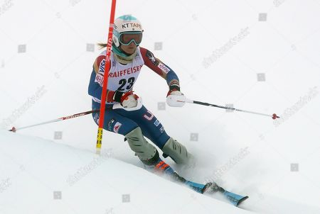United States' Julia Mancuso speeds down the course during the slalom portion of an alpine ski, women's World Cup combined, in St. Moritz, Switzerland