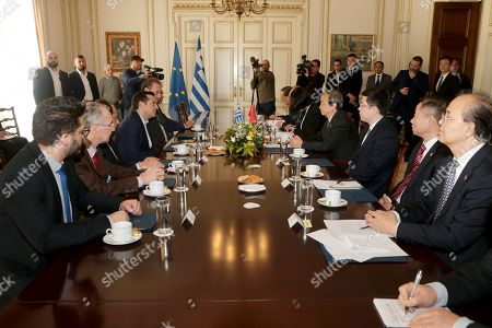 Greek Prime Minister Alexis Tsipras (3-L) welcomes China?s Vice Premier Ma Kai (4-R) during their meeting, at Maximos Mansion, in Athens, Greece, 08  December 2017. The focus of talks during Ma Kai's visit to Greece will be on new technology, tourism and agri-food products.